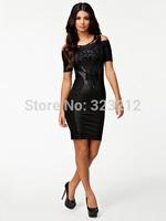 Free shipping short sleeve black dress slim hip package dresses women plus size dress M XL XXL