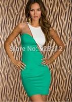 Hot seller special design patchwork dresses women party dress black vestidos 2014