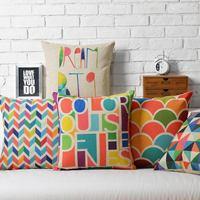 Ikea modern color pop geometry pillow Linen Cushion Pillow cover pillowcase home decorate sofa cushions