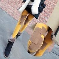 2014 new Korean fashion personality plus thick velvet cotton knee patch nine Leggings