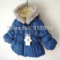 new 2014 autumn winter jacket baby clothes children outerwear girls princess coat kids rabbit fur collar warm jackets parka