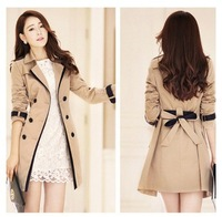 HOT SALE !! 2014 Winter Autumn Women's Fashion Double Breasted Formal Medium-long Warm Trench Coat Outwear Jackets Clothing