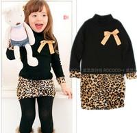 Autumn Sale 2014 children's long-sleeved leopard dress girls bow stitching package hip dress