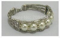 New Fashion Jewelry Wholesale Cheap Tibetan Tibet silver natural white pearl bangle bracelet 6 color / free shipping 1pcs -