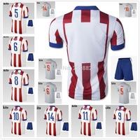 14/15 home away KOKE GABI soccer football jersey + Shorts kits, 2015 best quality soccer uniforms jerseys