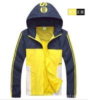 HOT SALE 2014  Spring Autumn New Men's  Sports Jackets Hooded Light Jacket Patchwork colors Hoodies Sweatshirts Coats Jackets