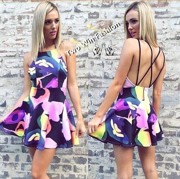 2014 October Hot Sale Women Flowers Print Sleeveless Mini Dress,Young Lady Cute Sundress,Free Shipping!(China (Mainland))