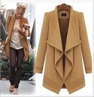 Gossip Girl same style as serena 2014 new fashion Irregular big lapel elegant warm women's coats dark blue camel 346