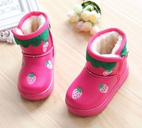 2014 Winter New In Girls Children Strawberry Print Velvet Snow Boots Female's Water Proof Shoes