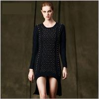 Brand Runway Baroque Style Luxury Beading Sweater Dress 2014 New Fall Winter Woman Long Sleeve Plus Size Irregular Long Sweaters