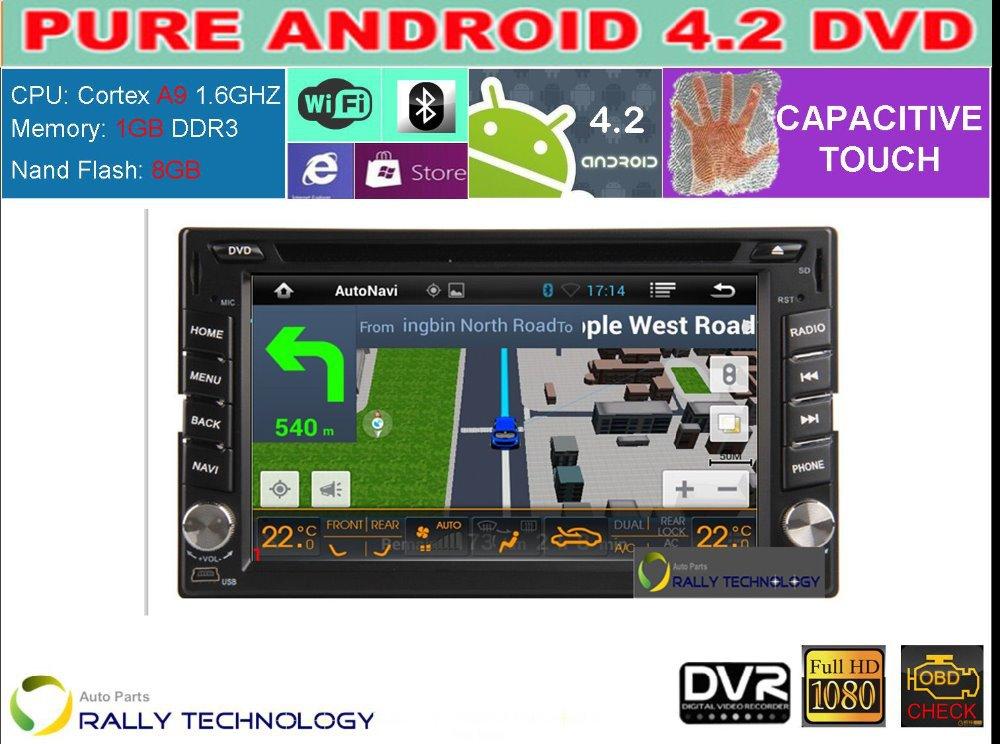 HD Capacitive Screen Pure Android 4.2 Car PC, 2 Din Car DVD GPS 3G Radio TV For Nissan Hyundai + Free WiFi Dongle + Free Map(China (Mainland))