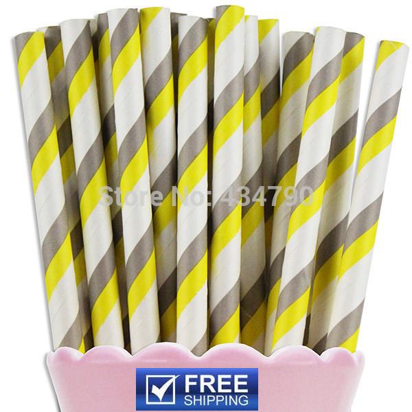 200pcs Buy Paper Straws Yellow Gray Stripe,weddings, baby showers, wedding showers, receptions, birthdays, anniversary parties(China (Mainland))