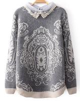 2014 Autumn new fashion Ladies' Organza beaded lapel totem pattern sweater 1942