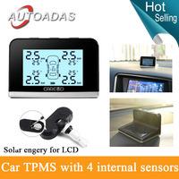 New!solar engery LCD,replaceable internal sensors,car TPMS with 4 internal sensors,PSI/BAR display,Diagnostic Tools
