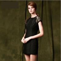 Barocco Style Handmade Beading Jacquard Dress 2014 Autumn Woman Vintage Plus Size Slim Dress Black Basic Winter Short Dress