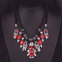 1725#Korean fashion necklace crystal short clavicle exaggerated retro women's accessories   necklace