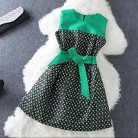 2014 Autumn High Quality Fashion Dress Women's Mint Green Sleeveless  A Line Bohemian Geometric Print Tunic Dress Nobel Dress