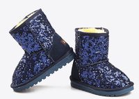 2014 Winter New In Girls/Boys Fashion Paillette Sequins Snow Boots Children's Western Style Winter Shoes