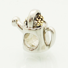2014 Watering genuine gold-plated silver color beads fit Pandora bracelets charm bracelets and jewelry accessories