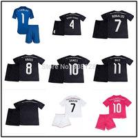 Real Madrid Kids Home Away Third White Pink Black 4 SERGIO RAMOS 7 RONALDO Junior 14 15 soccer jersey 8 KROOS 10 JAMES 11 BALE