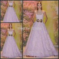 New Design Zuhair Murad 2014 A-Line Sexy Spaghetti Straps Lace Applique Elegant Evening Dress Formal Dresses vestido de festa