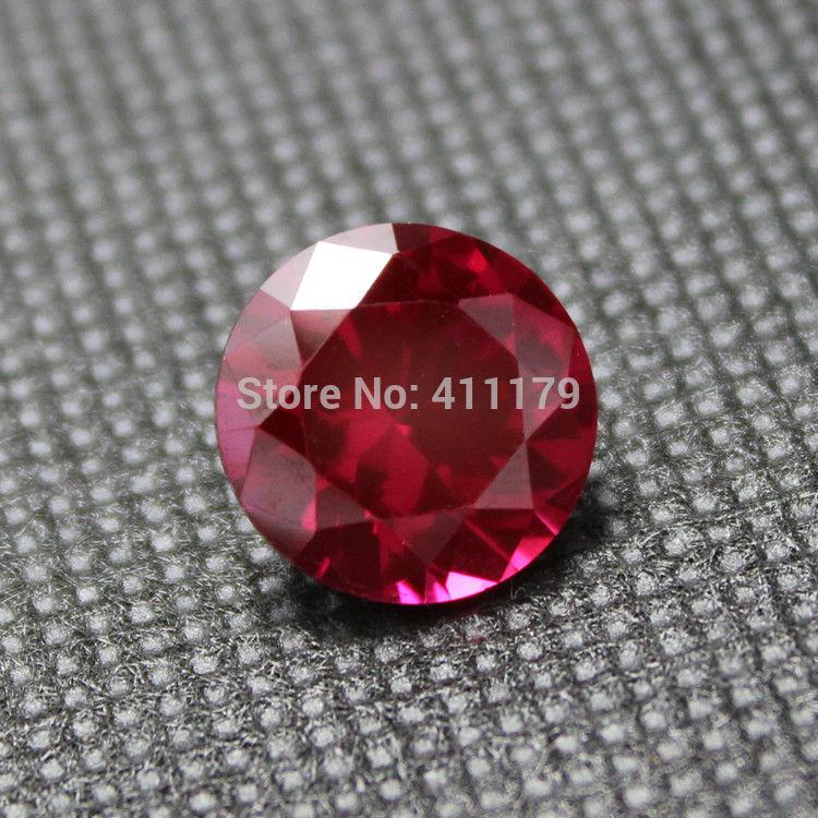 round shape rose red ruby Synthetic Corundum Loose Gemstone beads semi-precious stone artificial gemstones diamond cut faceted(China (Mainland))
