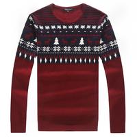 100% pure cashmere sweater M / 2014 winter warm essential Christmas jacquard pattern round neck sweater men's fashion