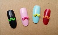 50pcs per lot beautiful moustache shape Nail art alloy with rhineston stickers docoration