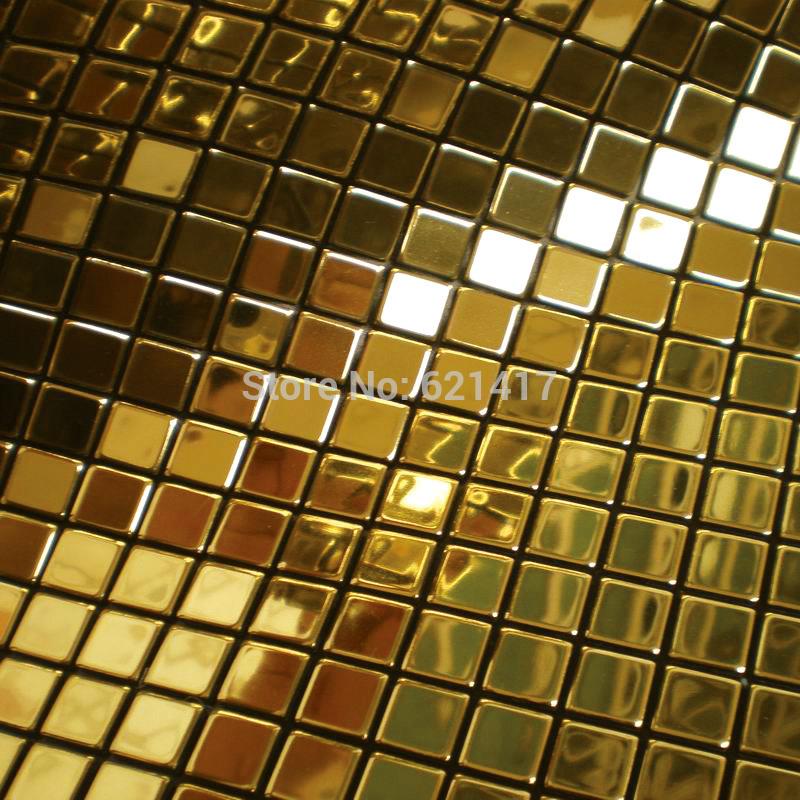 Metal golden mosaic mirror aluminum plastic plate gold foil mosaic tiles for kitchen backsplash decoration tiles HMSM1010(China (Mainland))