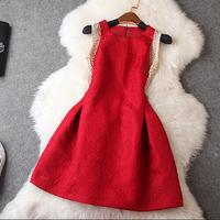 Autumn High Quality Fashion Dress Women's Sleeveless Beaded Diamonds Dobby Nobel A Line Dress