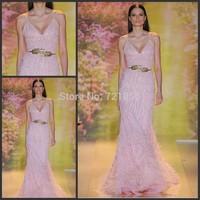 Hot Sale Zuhair Murad 2014 Sexy Spaghetti Straps Sequins and Feather Long Mermaid Elegant Evening Dress vestido de festa