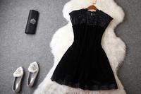 Europe High Quality Fashion Dress Women's Luxurious Sleeveless Black Beaded Diamonds Velour Nobel Mini Prom Dress