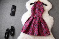 European Autumn High Quality Boutique Dress Women's Sleeveless Cute Pink Flower Print Dobby Cotton Tank Dress