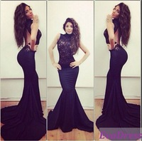 2015 Free Shipping Fashion Sleeveless High Neck Lace Evening Gown Party Vestido Mermaid Sexy Black Backless Prom Dresses