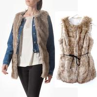 2014 New Arrival Original Women Fashional O-Neck Long Faux Mink Fur Vest Sleeveless Style Outwear Gilet Brown