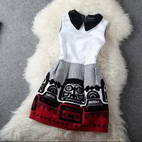 European Autumn High Quality Boutique Dress Women's Peter Pan Collar Sleeveless Novelty Pattern Empire Cotton Dress