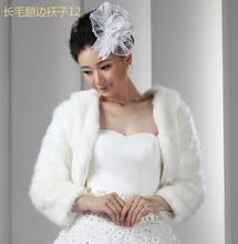New Arrival Faux Fur 2014 Hot Wedding Bridal Dress Jacket Bolero Accessories Shawl Warm Winter Coat Bridal Wraps Long Sleeve(China (Mainland))