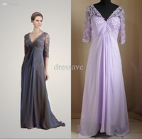 Real sample picture light purple Lace New Mother of the Bride Dresses Sexy V-neck chiffon half sleeves Evening Gowns GYU-097