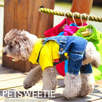 2014 new | Jeans Spring Poodle Dog Schnauzer pet clothes Teddy overalls Autumn