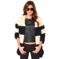 Winter 2014 European and American hit color mosaic collarless slant pocket hook button placket fur coat jacket haoduoyi