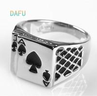 DAFU Jewelry Chunky 18K White Gold Plated Black Enamel Spades Poker Ring Men Jewelry
