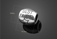 2pcs/lot 925 Silver best friend star big hole bead European Beads Fits Silver Charm pandora Bracelets necklaces pendants