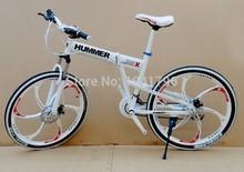 MTB 21 speed double mountain bike disc brakes folding 26 inch folding bike one piece wheel 2 color (China (Mainland))