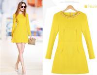 European new large size women spring fashion Slim thin long sleeve dress,beading crystal women dress winter,free shipping 280