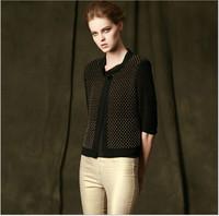 Europe Fashion Vintage Baroque Beading Short Jacket Coat For Women 2014 New Autumn Three Quarter Sleeve O-Neck Slim Casual Coat