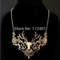 Unisex Antelope Deer Head Pendant Collar Necklace Retro Gold Jewelry