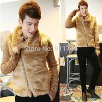 2014 new winter Imitation rabbit fur lapel coats men splicing knit sleeves Oblique zipper Cotton coat jackets for men, M-2XL,M02