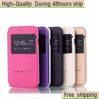 High Quality Hairline Texture Leather Case with Call Display ID For Samsung Galaxy Note III N9000  Free Shipping DHL CPAM HKPAM
