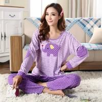 Women Cute Elephant Stripped Cotton Long Sleeve Pajamas Set Sleepwear Pajama Nightwear Pijama Casual Pyjamas Home Clothing