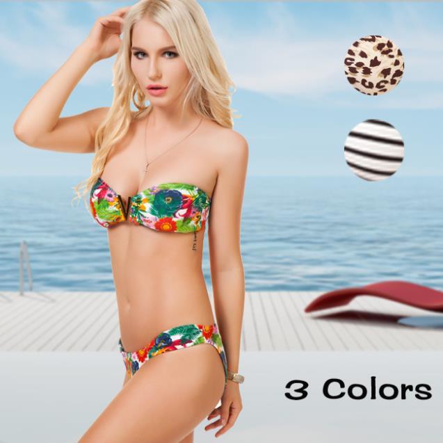 New Woman Sexy Floral Style Bikini Swimwear Suit Bandeau Leoard Floral Strip Style Bikini Bath Suit 6245(China (Mainland))